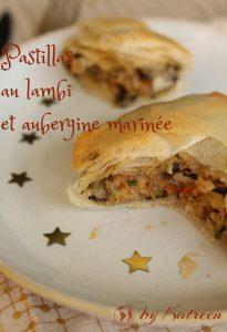 Pastilla au lambi et aubergine marinée apporter du croustillant