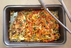 crepe aux poisson et légumes grillés