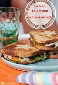 sandwich poulet rôti antillais et légumes grillés