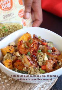 salade de quinoa, légumes et crevettes