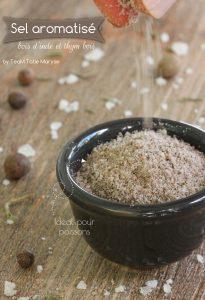 sel aromatisé bois d'inde thym