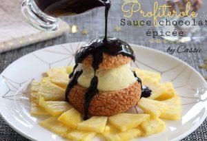 Profiterole sauce chocolat épicée