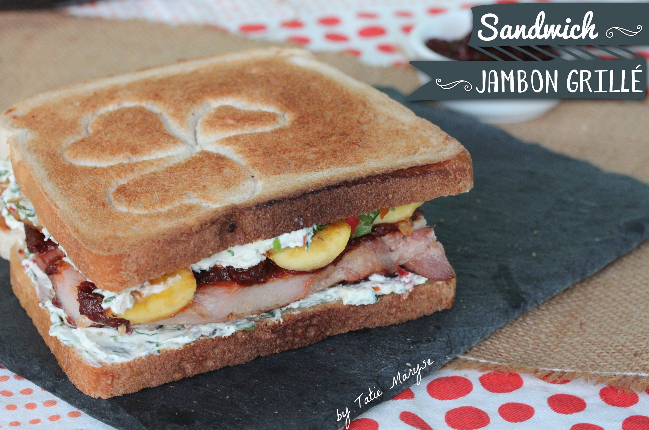 Sandwich jambon grillé et banane frite